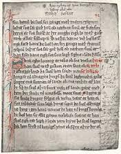 Side fra Den eldre Vestgøtaloven. 1280-tallet. Bilde.