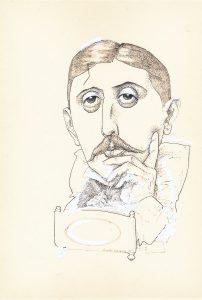 Tegning av Marcel Proust ved Finn Graff