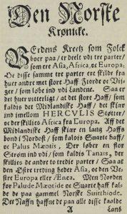 Bilde: Mattis Størssøns oversettelse av Heimskringla er den eldste trykte sagaoversettelsen. Fra Jens Mortensens utgave 1594