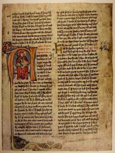Foto: Side fra kongesagahåndskriftet Bergsbók, ca. 1400
