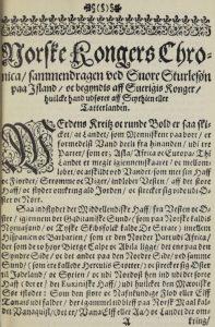 Bilde: Peder Claussøn Friis' sagaoversettelse er den mest omfattende fra eldre tid. Faksimile fra Worms utgave (1633)