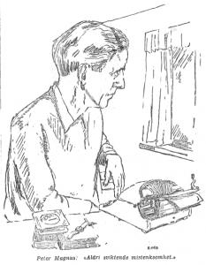 Tegnung.Magnus portrettert i Morgenbladet 16. mai 1953. Illustrasjon ved intervjueren, RIKO (Erik Egeland).