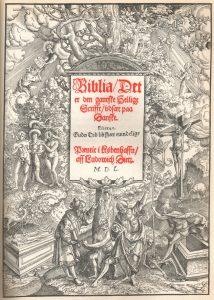Bokomslag av Christian IIIs bibel fra 1550