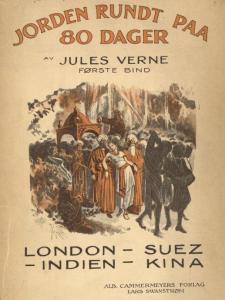 Illustrasjon Første bind av Alb. Cammermeyers utgave av «Jorden rundt paa 80 dager» (1919).
